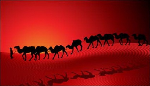 camel-desert-caravan-sunset-silhouette-red-background-vector_412253