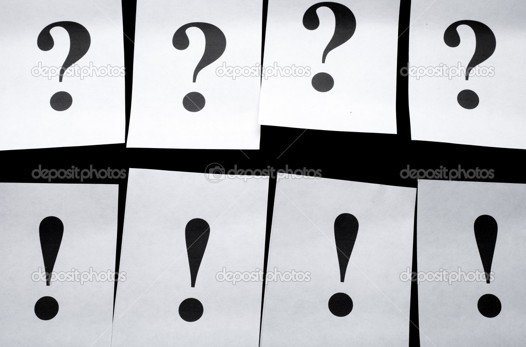 Question marks and exclamation mark, concept